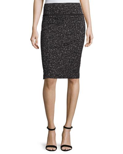 Printed Jacquard Pencil Skirt, Black