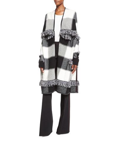 Buffalo-Check Fringe Jacket, Black/White