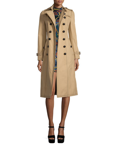 Topstitched Gabardine Trenchcoat, Honey