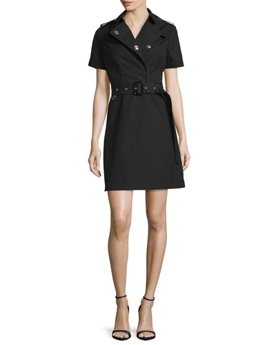 Short-Sleeve Belted Trench Dress, Black