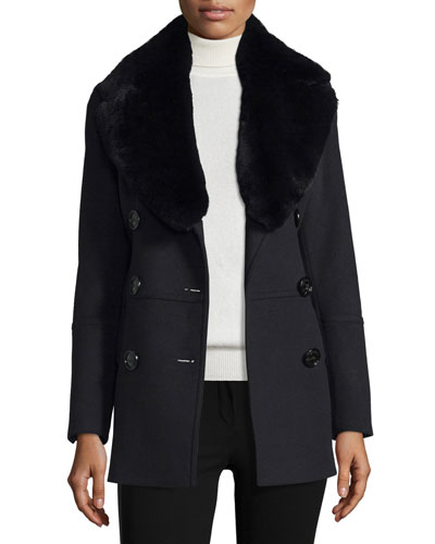 Marfield Wool-Blend Coat w/Detachable Fur Collar, Black