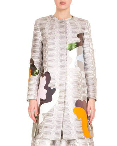 Abstract Jacquard Collarless Coat, Silver