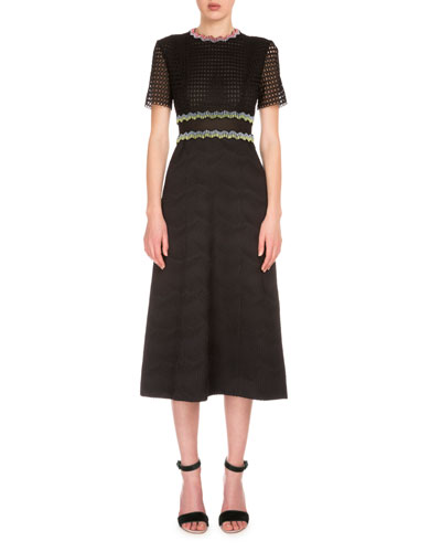 Short-Sleeve Grid Lace Midi Dress, Black