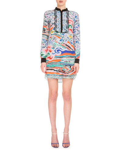 Long-Sleeve Multi-Print Silk Midi Dress