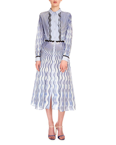 Long-Sleeve Wavy-Print Shirtdress, Blue