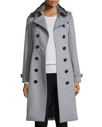 Sandringham Fur-Collar Trenchcoat, Pale Gray