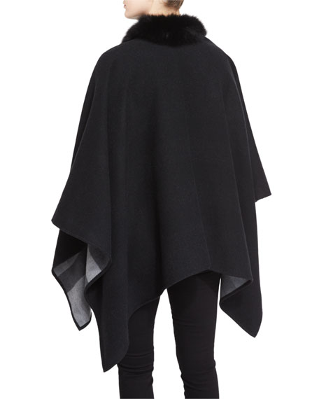 Fox Fur-Trimmed Merino Cape, Charcoal
