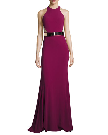 Saskia Cady Belted Gown, Raspberry