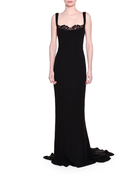Stella Mccartney Lace Peek A Boo Tank Gown Black