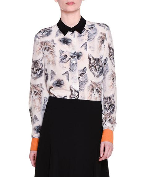 e51bb73ffb883 Stella McCartney Long-Sleeve Cat-Print Silk Blouse, White/Black