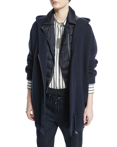 Hooded Cashmere Long Jacket, Navy