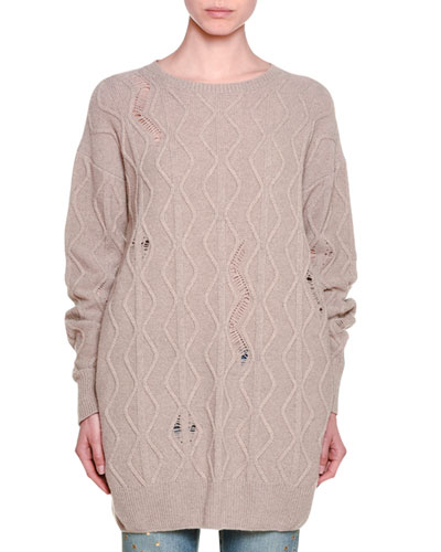 Distressed Long-Sleeve Cable-Knit Sweater, Camel
