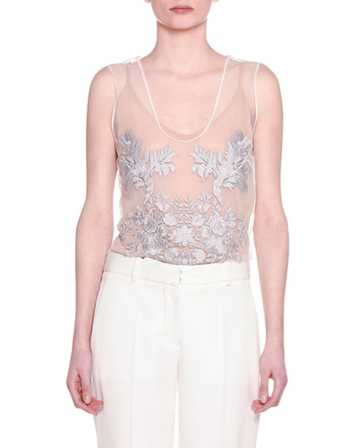 Sleeveless Embroidered Tulle Top, Ivory