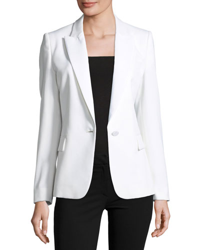 One-Button Tuxedo Jacket, Ivory