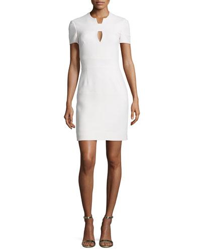 Short-Sleeve Woven Keyhole Dress, Blush