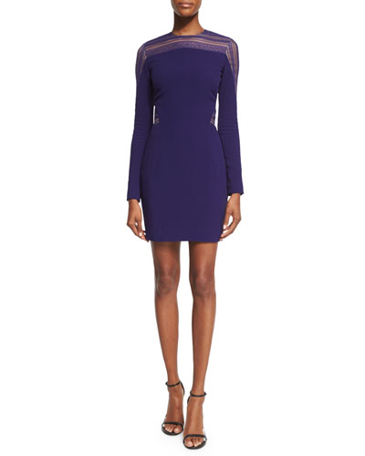Long-Sleeve Lace-Trim Dress, Mulberry