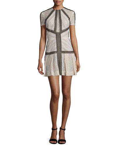 Short-Sleeve Striped Lace Dress, Blush/Black