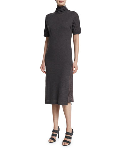 Half-Sleeve Turtleneck Sweaterdress, Volcano