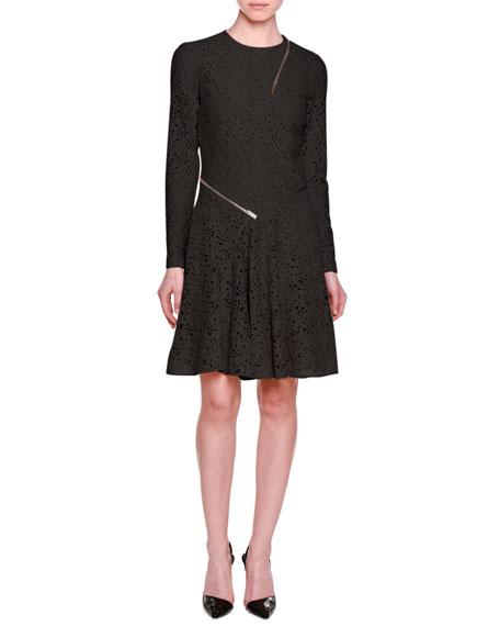 Stella Mccartney Long Sleeve Lace Dress Wzip Trim Black