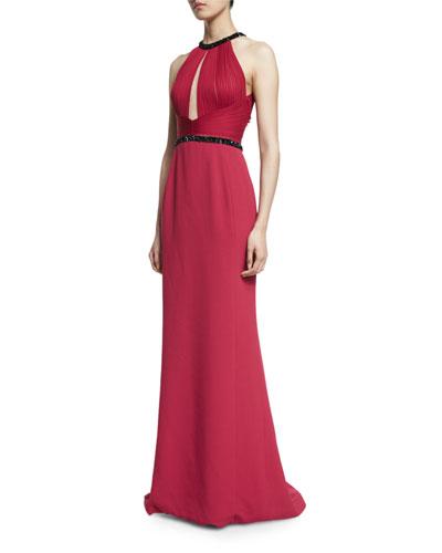 Pleated Halter Gown w/Sequin Trim, Crimson/Noir