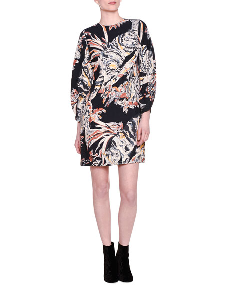b43e99082f43 Stella McCartney Cat-Print Bishop Sleeve Dress