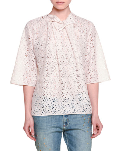 Half-Sleeve Pleated Lace Top, Pink