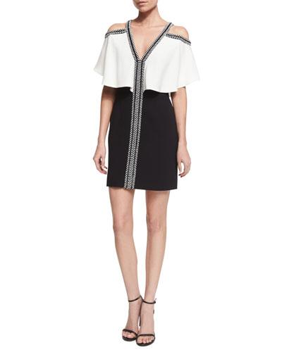 Ruffled Cold-Shoulder Combo Dress, Ivory/Black