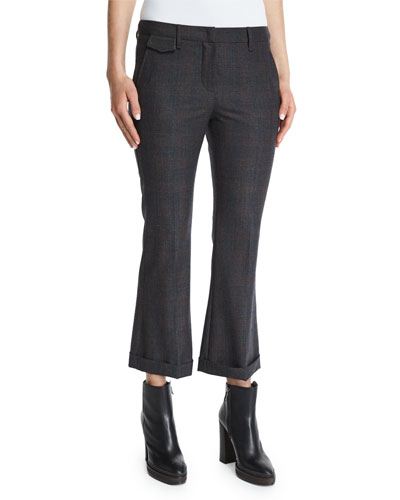 Prince Of Wales Cropped Flare Pants, Charcoal