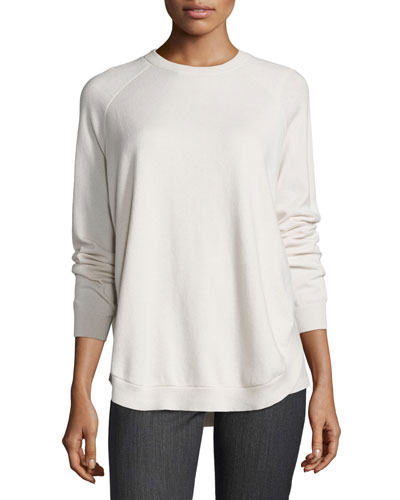Cashmere Crewneck Open-Side Sweater, Vanilla