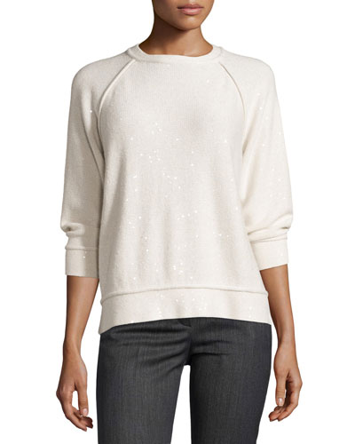 Paillette-Embellished Knit Sweater, Ivory