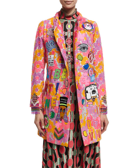 Patches Work! Embellished Coat, Orange/Multi