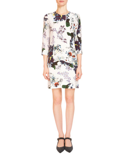 Emma Bold Floral 3/4-Sleeve Shift Dress, White/Multi