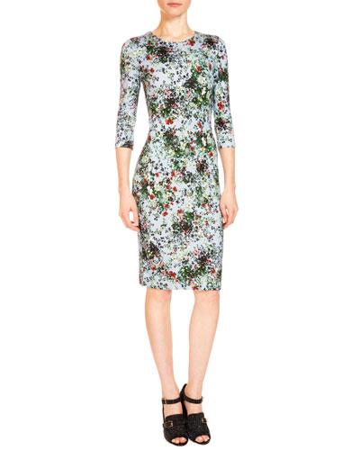 Allegra 3/4-Sleeve Floral-Print Dress, Light Blue/Green