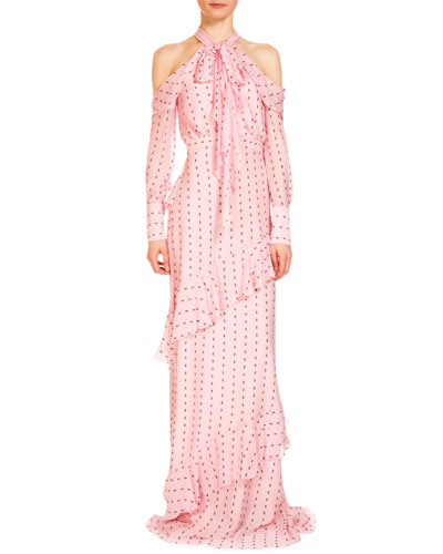 Aliza Tie-Neck Cold-Shoulder Ruffle Gown, Pink