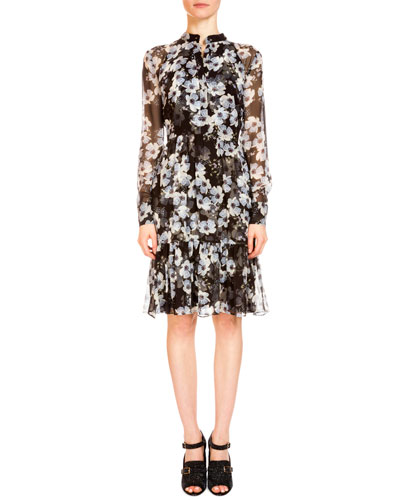 Devika Long-Sleeve Floral-Print Shirtdress, Black/White