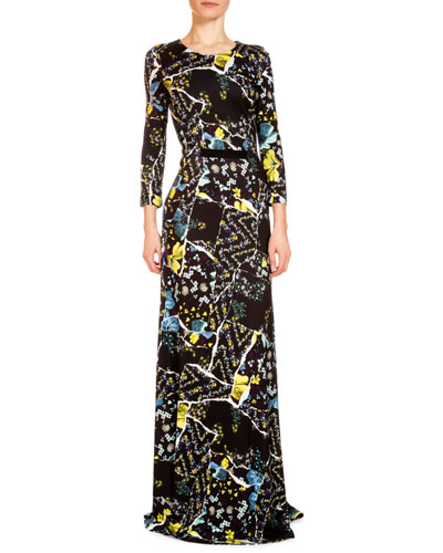 Raine Floral-Print Bracelet-Sleeve Gown, Black/Multi