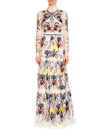 Carolyn Embroidered Lace Mock-Neck Gown, Ecru/Multi