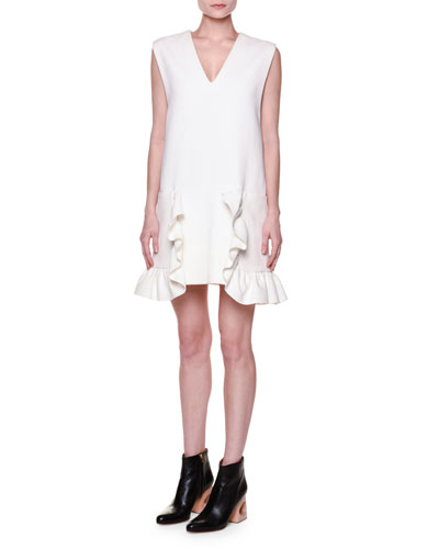 Sleeveless V-Neck Ruffled Dress, Lily White