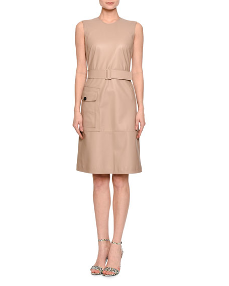 Sleeveless Leather Dress, Mink