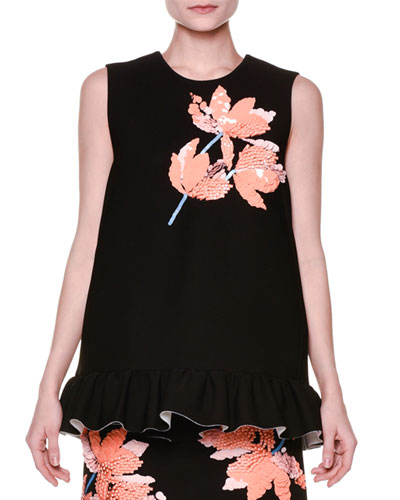 Sleeveless Floral-Appliqué Ruffle-Hem Top, Black