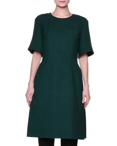Flared Half-Sleeve Side-Slit Dress, Green