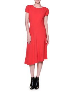 Short-Sleeve Seamed Cady Dress, Red