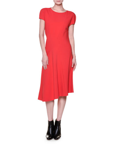 Short-Sleeve Seamed Cady Dress, Red