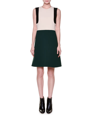 Sleeveless Bonded Crepe Colorblock Dress, Green