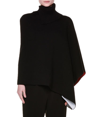 Knit Mock-Neck Cape Sweater, Black