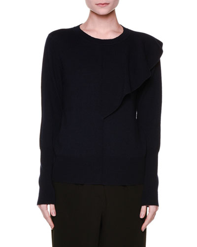Long-Sleeve Asymmetric Ruffle Sweater, Navy