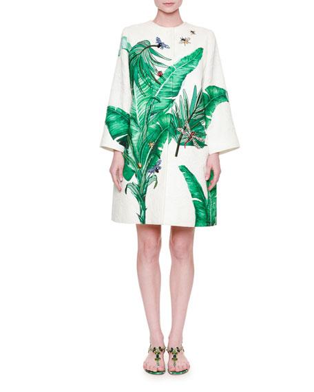 2941e530 Dolce & Gabbana Embroidered Banana-Leaf Topper Coat, White/Green