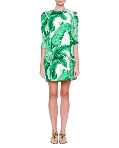 3/4-Sleeve Banana Leaf-Print Dress