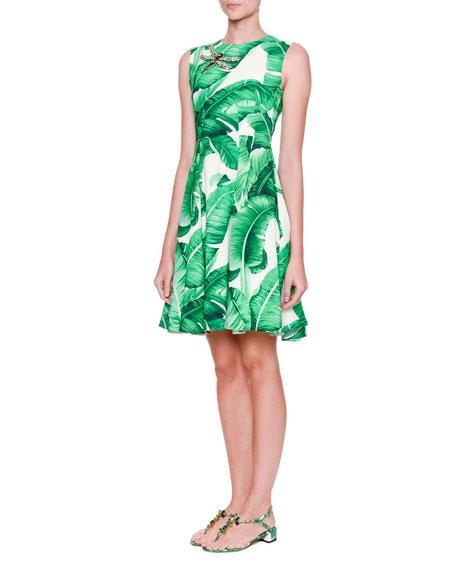 Sleeveless Banana Leaf Dress w/Bee Embellishment