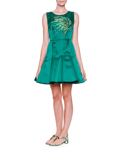 Sleeveless Satin Fit-and-Flare Dress w/Sequined Leaf, Intense Green